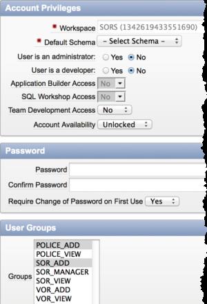 Maintain APEX User Account